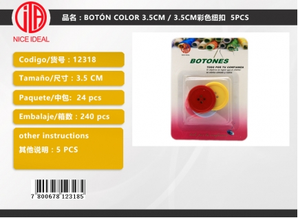 COLOR BUTTON 3.5CM 5PCS